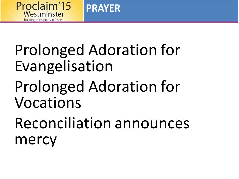 Prolonged Adoration for Evangelisation Prolonged Adoration for Vocations Reconciliation announces mercy