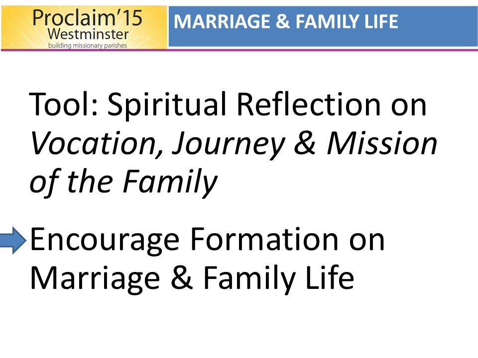 Tool: Spiritual Reflection on Vocation, Journey & Mission of the Family Encourage Formation on Marriage & Family Life MARRIAGE & FAMILY LIFE