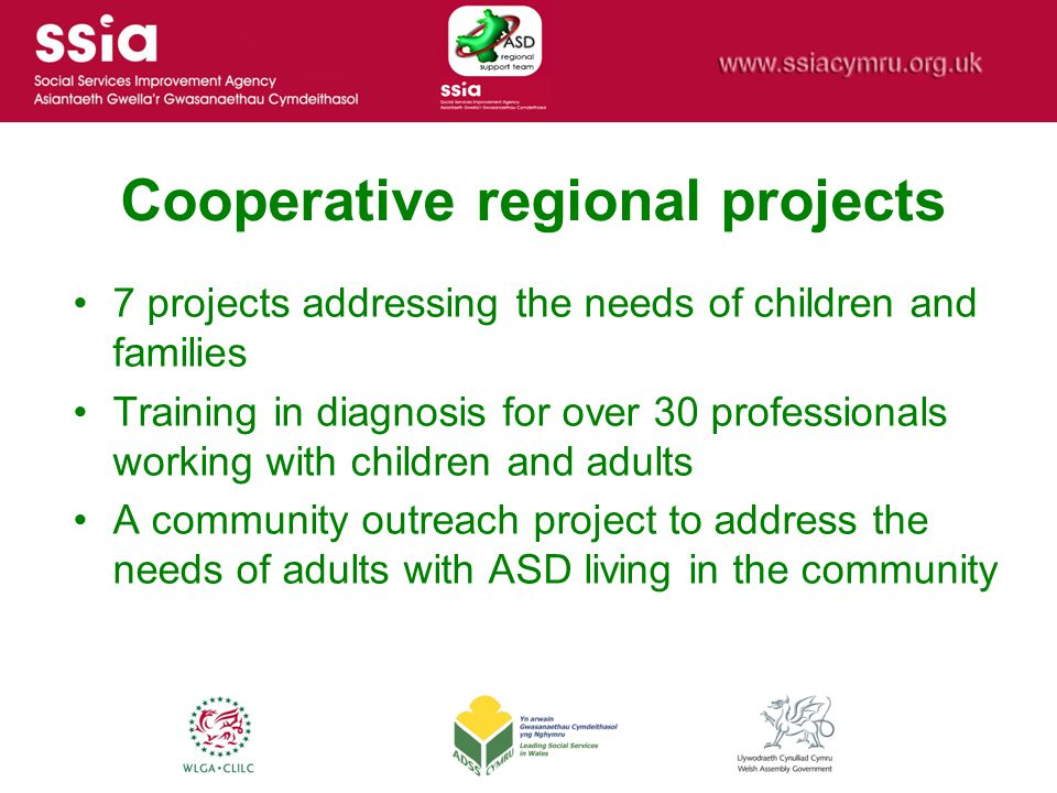 Cooperative regional projects 7 projects addressing the needs of children and families Training in diagnosis for over 30 professionals working with ch