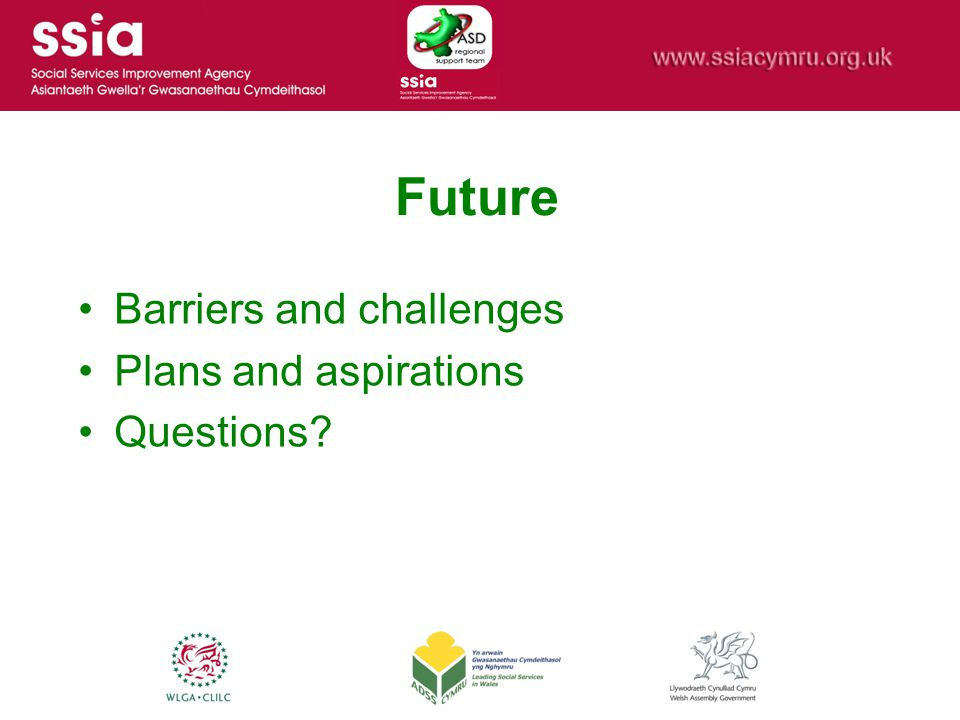 Future Barriers and challenges Plans and aspirations Questions?