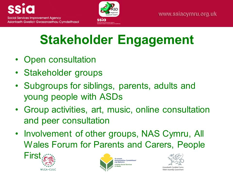 Stakeholder Engagement Open consultation Stakeholder groups Subgroups for siblings, parents, adults and young people with ASDs Group activities, art, music, online consultation and peer consultation Involvement of other groups, NAS Cymru, All Wales Forum for Parents and Carers, People First