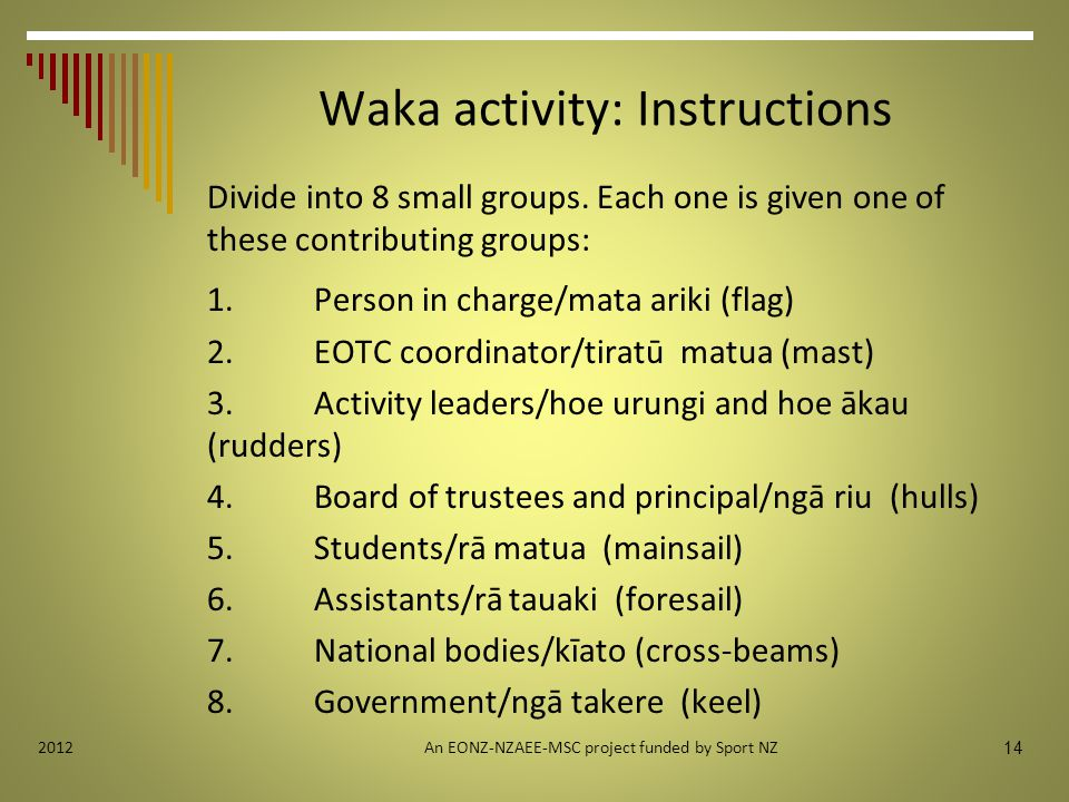 Waka activity: Instructions Divide into 8 small groups.