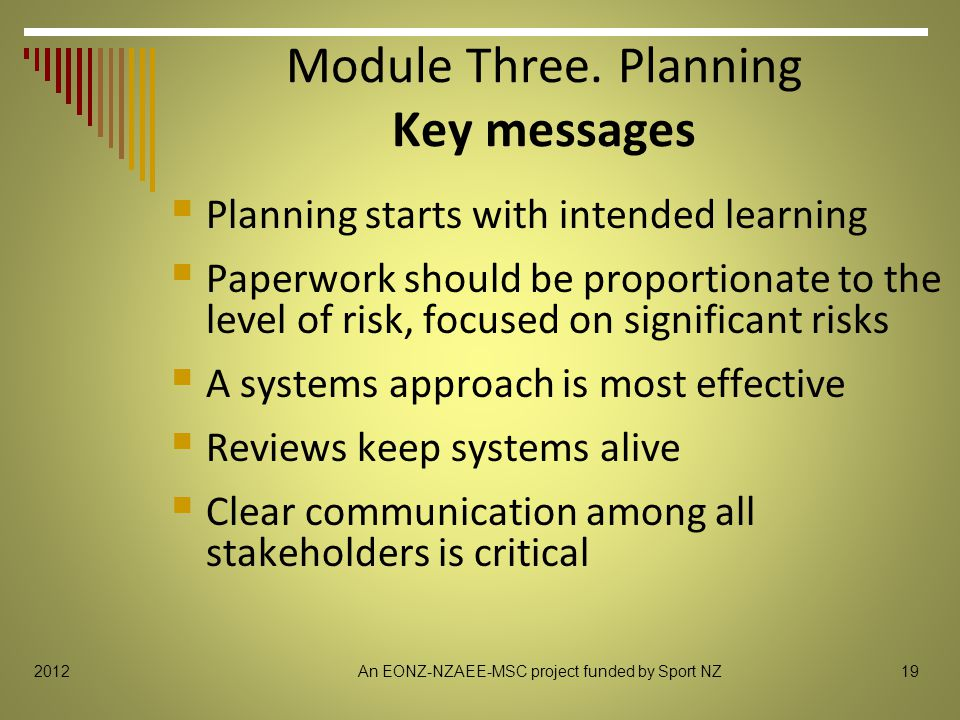 192012 Module Three. Planning Key messages  Planning starts with intended learning  Paperwork should be proportionate to the level of risk, focused