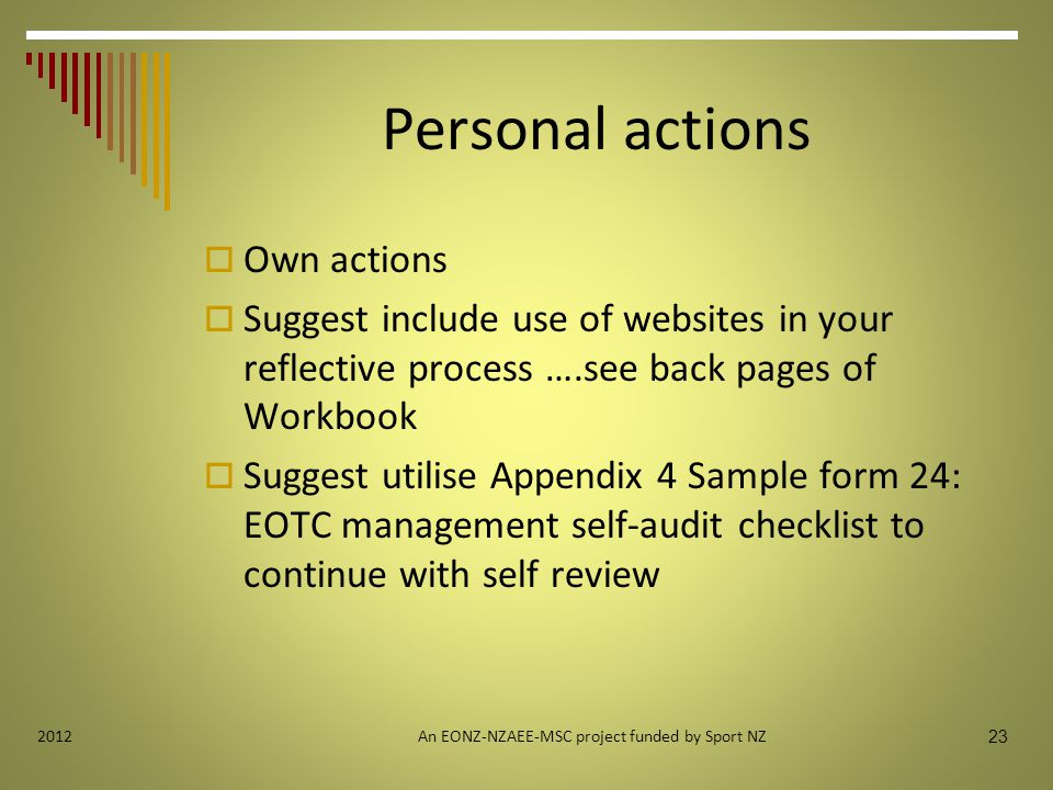 Personal actions  Own actions  Suggest include use of websites in your reflective process ….see back pages of Workbook  Suggest utilise Appendix 4 Sample form 24: EOTC management self-audit checklist to continue with self review An EONZ-NZAEE-MSC project funded by Sport NZ 23 2012