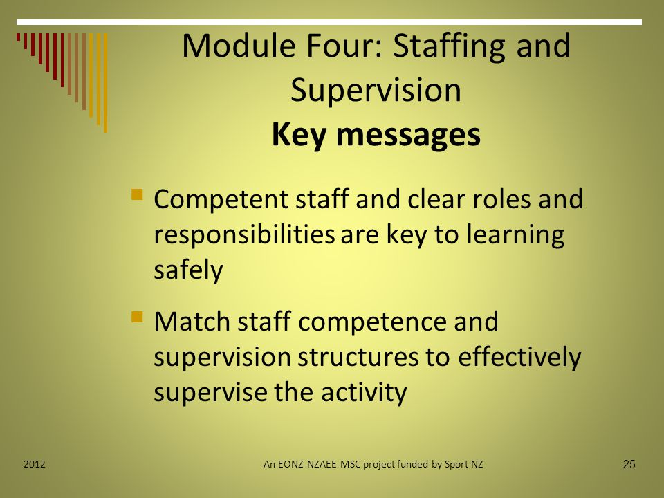 25 2012 Module Four: Staffing and Supervision Key messages  Competent staff and clear roles and responsibilities are key to learning safely  Match staff competence and supervision structures to effectively supervise the activity An EONZ-NZAEE-MSC project funded by Sport NZ