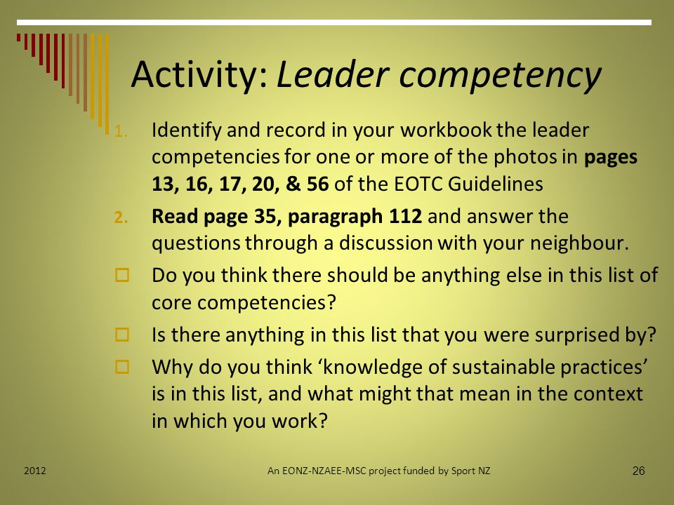 Activity: Leader competency 1.