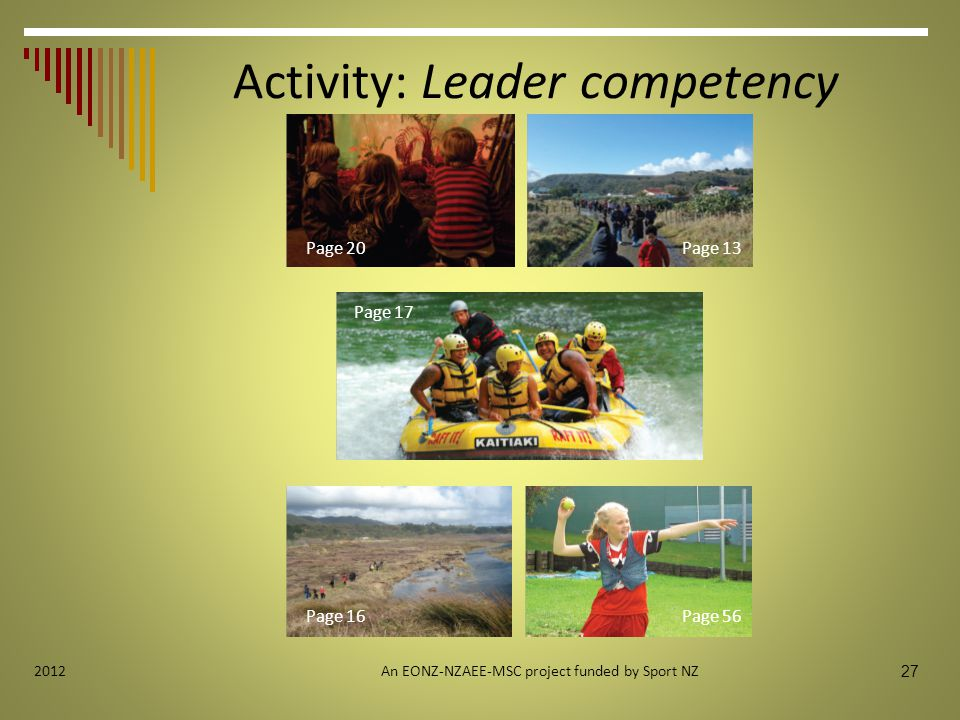 Activity: Leader competency An EONZ-NZAEE-MSC project funded by Sport NZ 27 2012 Page 16 Page 20Page 13 Page 56 Page 17