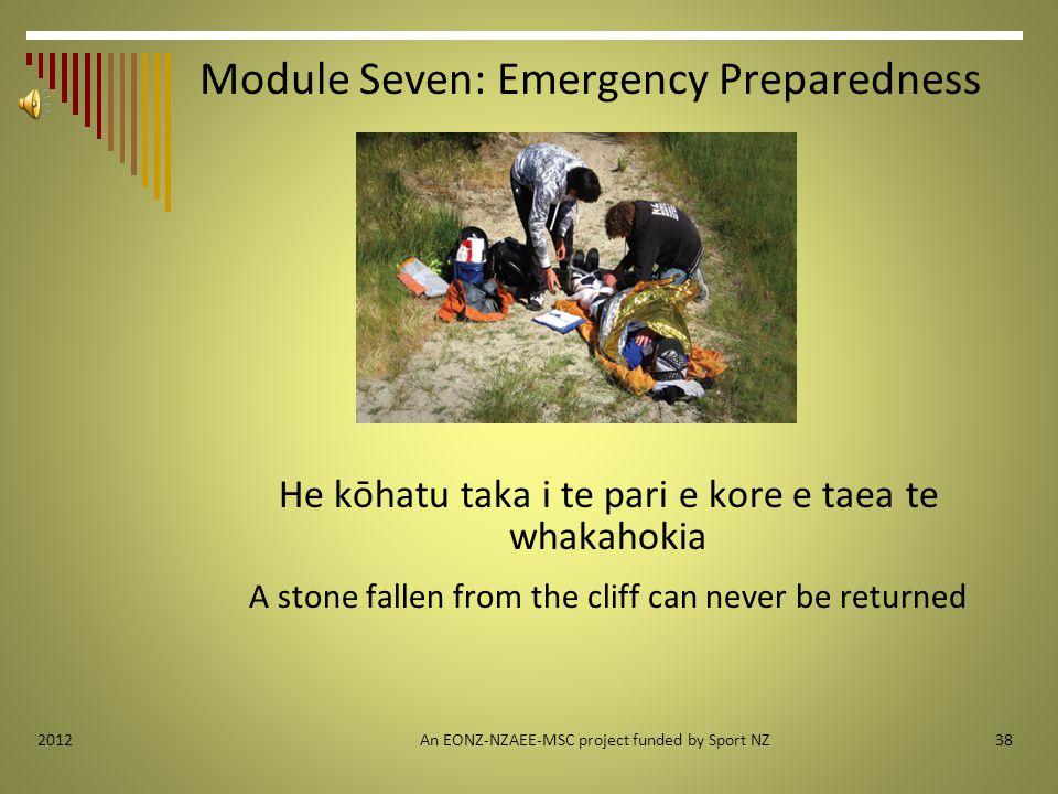 Module Seven: Emergency Preparedness He kōhatu taka i te pari e kore e taea te whakahokia A stone fallen from the cliff can never be returned An EONZ-