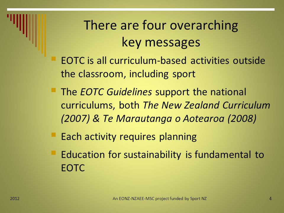 25 2012 Module Four: Staffing and Supervision Key messages  Competent staff and clear roles and responsibilities are key to learning safely  Match staff competence and supervision structures to effectively supervise the activity An EONZ-NZAEE-MSC project funded by Sport NZ