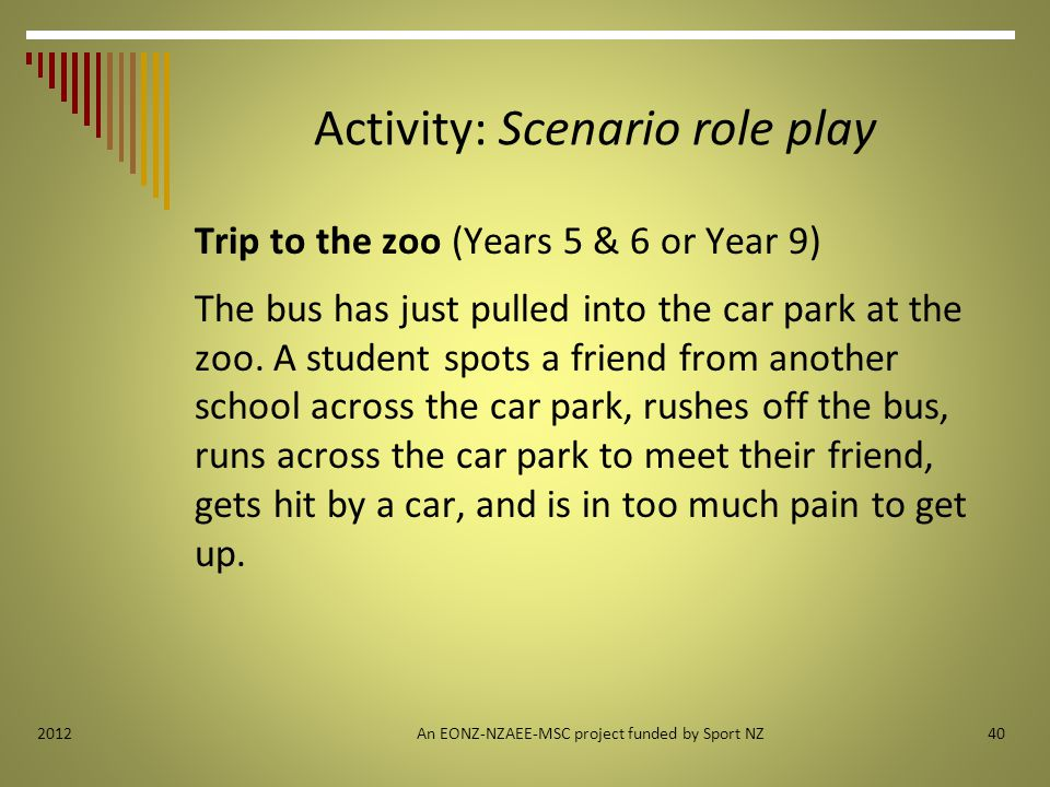 Activity: Scenario role play Trip to the zoo (Years 5 & 6 or Year 9) The bus has just pulled into the car park at the zoo.