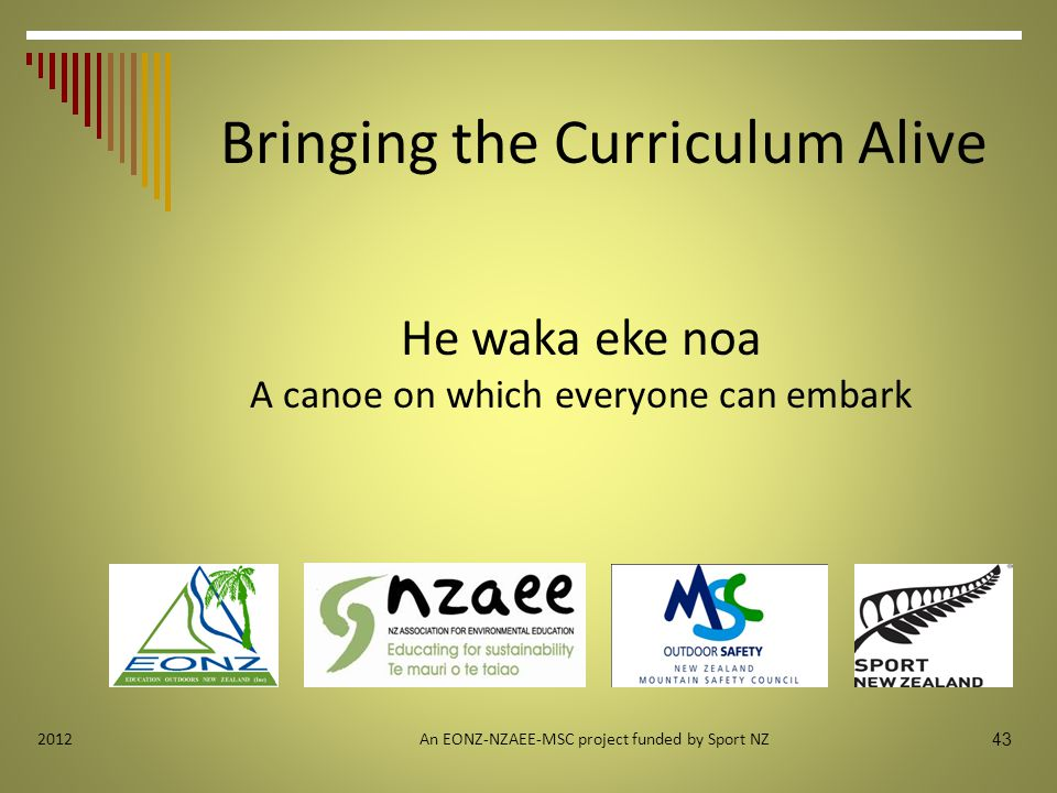 An EONZ-NZAEE-MSC project funded by Sport NZ 43 2012 He waka eke noa A canoe on which everyone can embark Bringing the Curriculum Alive