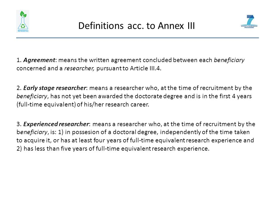 Definitions acc. to Annex III 1.