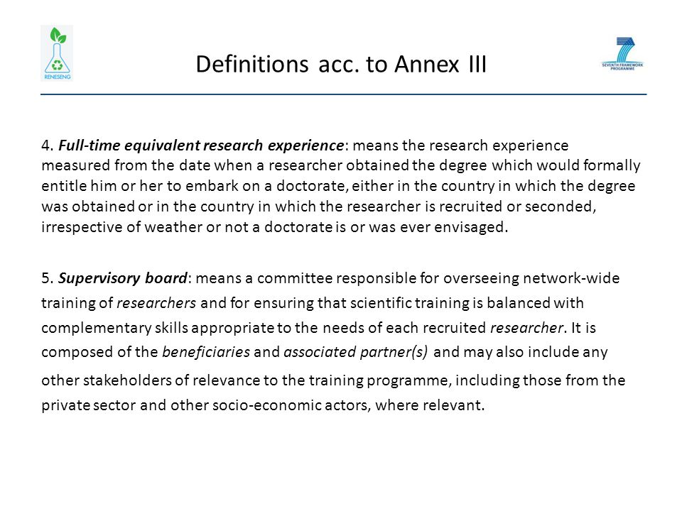 Definitions acc. to Annex III 4.
