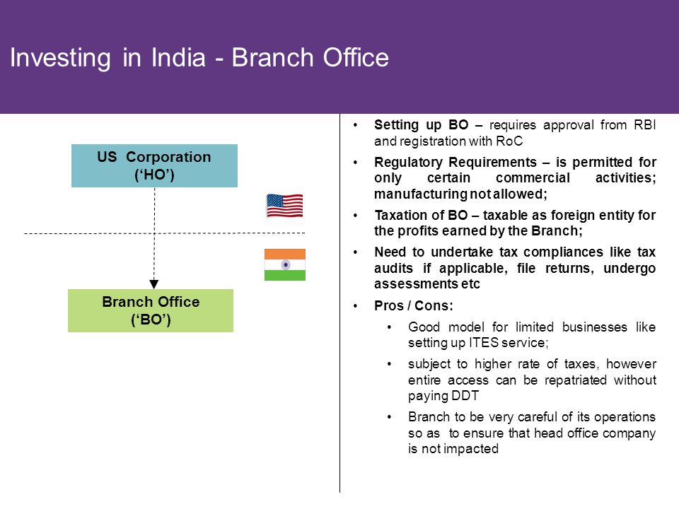 18 Branch Office ('BO') Investing in India - Branch Office US Corporation ('HO') Setting up BO – requires approval from RBI and registration with RoC Regulatory Requirements – is permitted for only certain commercial activities; manufacturing not allowed; Taxation of BO – taxable as foreign entity for the profits earned by the Branch; Need to undertake tax compliances like tax audits if applicable, file returns, undergo assessments etc Pros / Cons: Good model for limited businesses like setting up ITES service; subject to higher rate of taxes, however entire access can be repatriated without paying DDT Branch to be very careful of its operations so as to ensure that head office company is not impacted