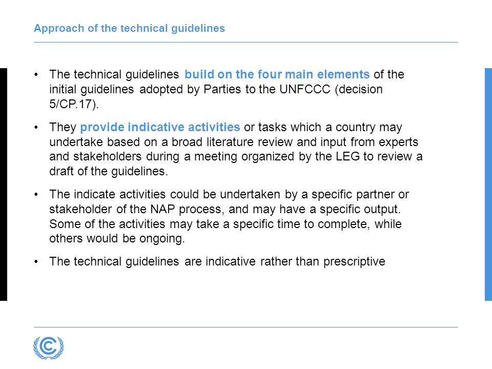What is in the technical guidelines.Part I.