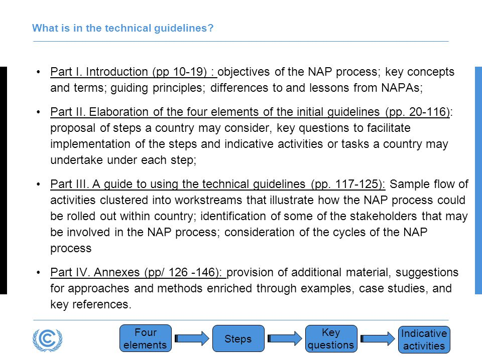 Resources to support the NAP process The following resources are being made available online by the LEG to support NAP teams in undertaking the NAP process : A NAP overview brochure A NAP Poster showing steps, building blocks and sample outputs under each of the four elements of the NAP process Presentations on the building blocks introducing approaches, methods, tools and examples The NAP Central (http://unfccc.int/NAP) which is a common information system for the NAP process, presenting information, among other, on data, tools, methods and case studies sorted by countries, sectors and hazards