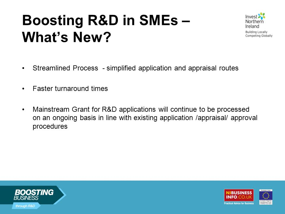 Boosting R&D in SMEs – What's New.
