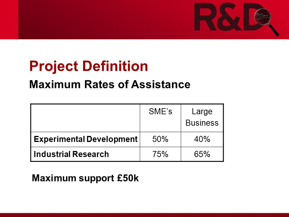 Project Definition Maximum Rates of Assistance Maximum support £50k SME'sLarge Business Experimental Development50%40% Industrial Research75%65%