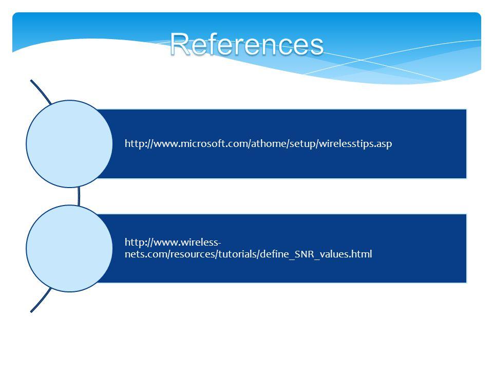 http://www.microsoft.com/athome/setup/wirelesstips.asp http://www.wireless- nets.com/resources/tutorials/define_SNR_values.html