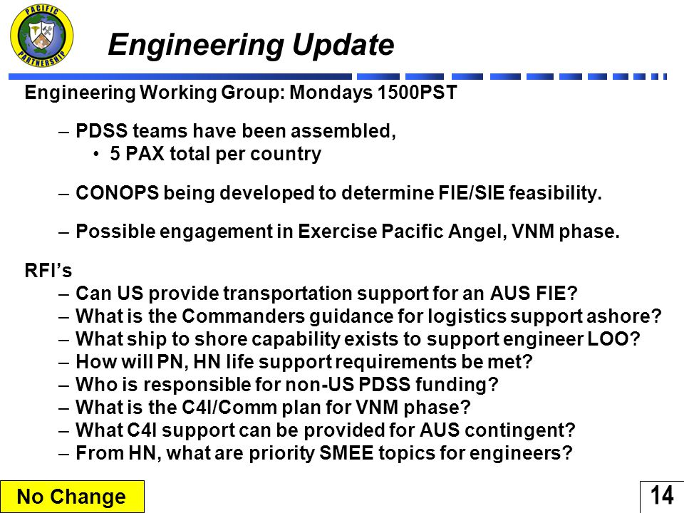 14 Engineering Update Engineering Working Group: Mondays 1500PST –PDSS teams have been assembled, 5 PAX total per country –CONOPS being developed to determine FIE/SIE feasibility.