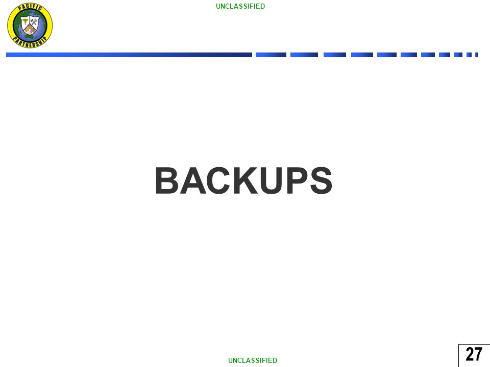 27 UNCLASSIFIED 27 BACKUPS