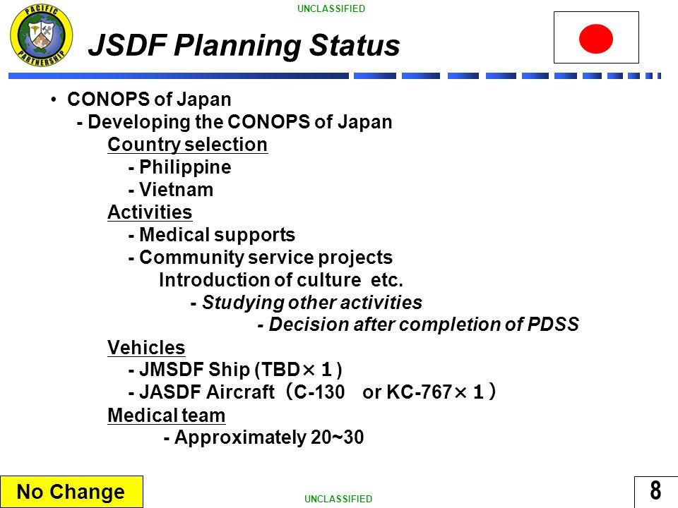 8 UNCLASSIFIED JSDF Planning Status CONOPS of Japan - Developing the CONOPS of Japan Country selection - Philippine - Vietnam Activities - Medical supports - Community service projects Introduction of culture etc.