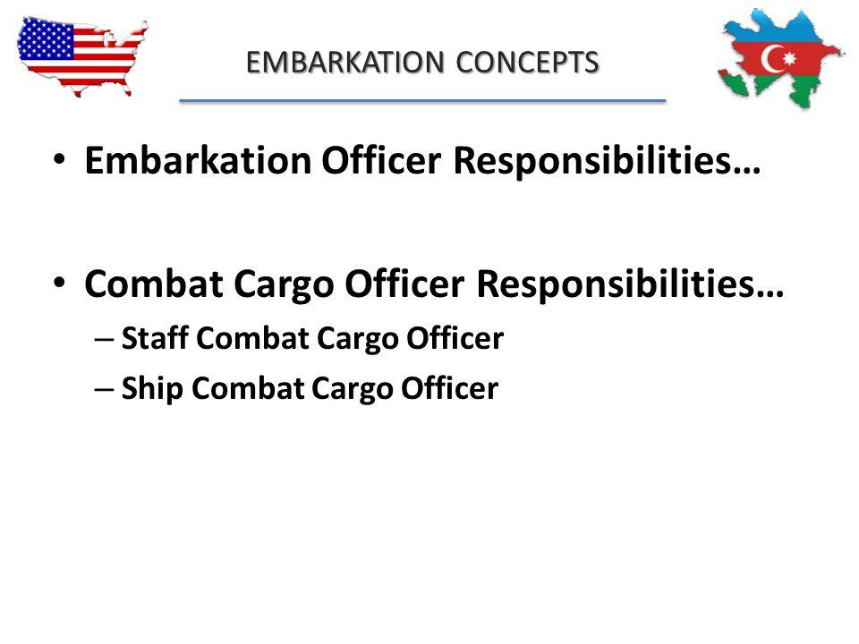 EMBARKATION CONCEPTS Embarkation Officer Responsibilities… Combat Cargo Officer Responsibilities… – Staff Combat Cargo Officer – Ship Combat Cargo Off