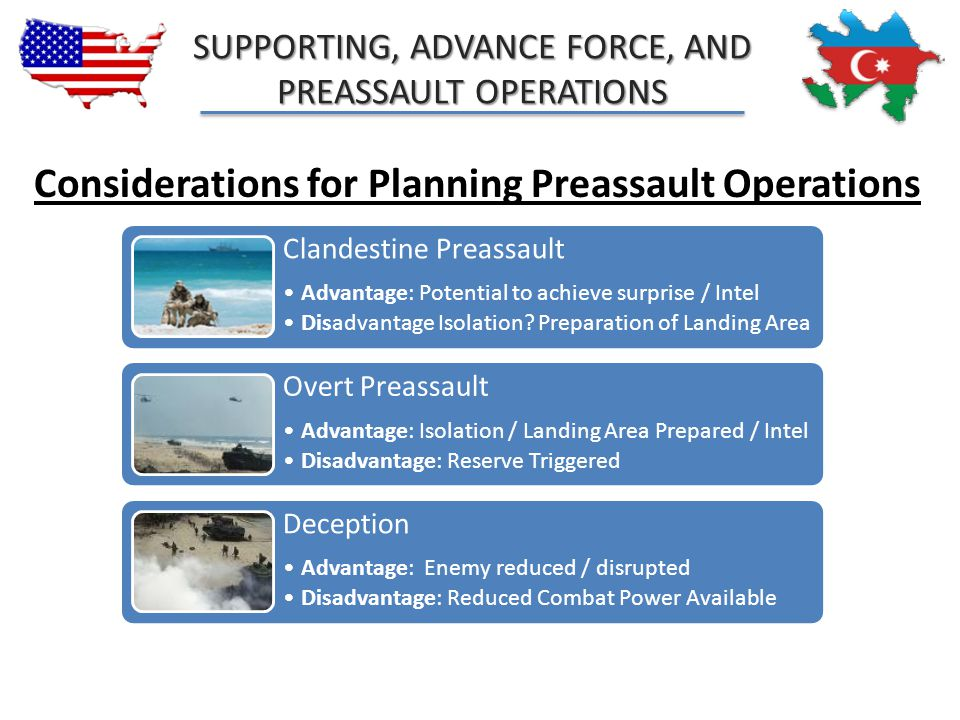 SUPPORTING, ADVANCE FORCE, AND PREASSAULT OPERATIONS Considerations for Planning Preassault Operations Clandestine Preassault Advantage: Potential to