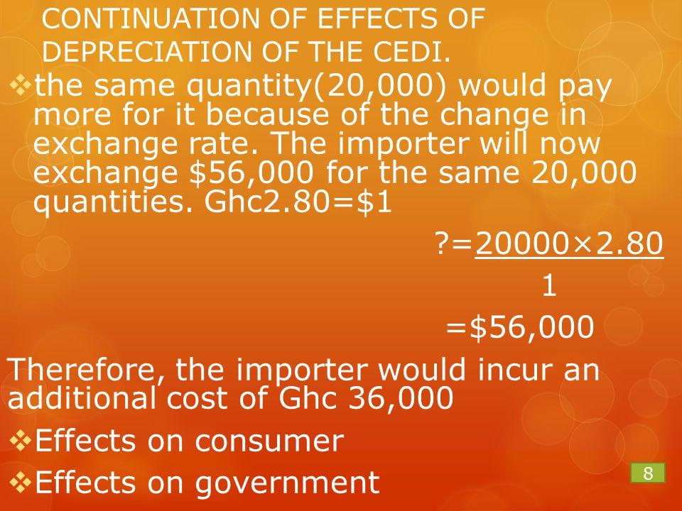 CONTINUATION OF EFFECTS OF DEPRECIATION OF THE CEDI.  the same quantity(20,000) would pay more for it because of the change in exchange rate. The imp