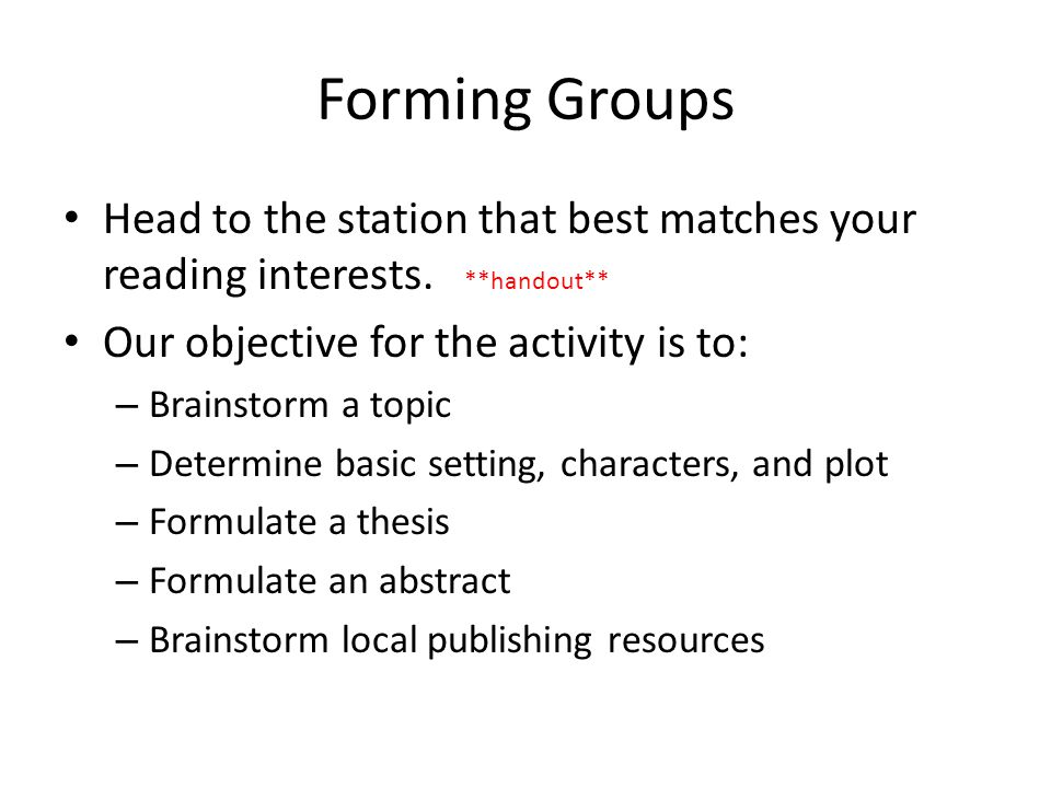 Creative Options Book of Short Stories As a group you will be collaborating to develop a book of short stories.