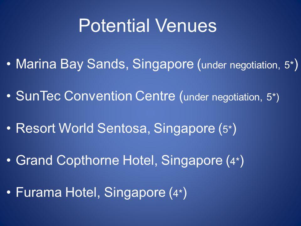 Potential Venues Marina Bay Sands, Singapore ( under negotiation, 5* ) SunTec Convention Centre ( under negotiation, 5*) Resort World Sentosa, Singapo