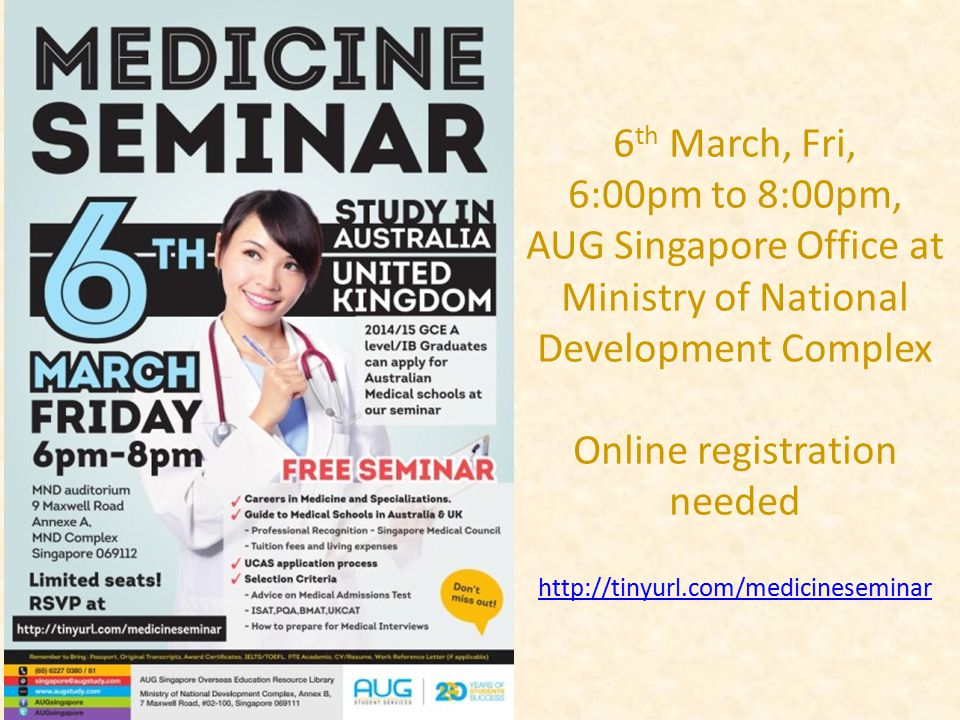 6 th March, Fri, 6:00pm to 8:00pm, AUG Singapore Office at Ministry of National Development Complex Online registration needed http://tinyurl.com/medi