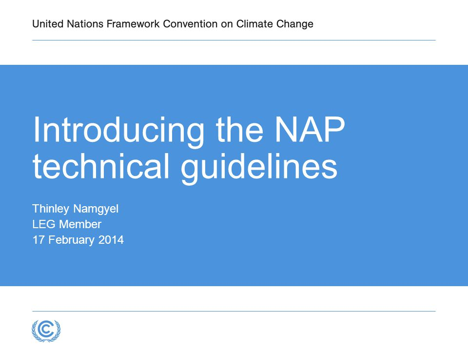 Introducing the NAP technical guidelines Thinley Namgyel LEG Member 17 February 2014