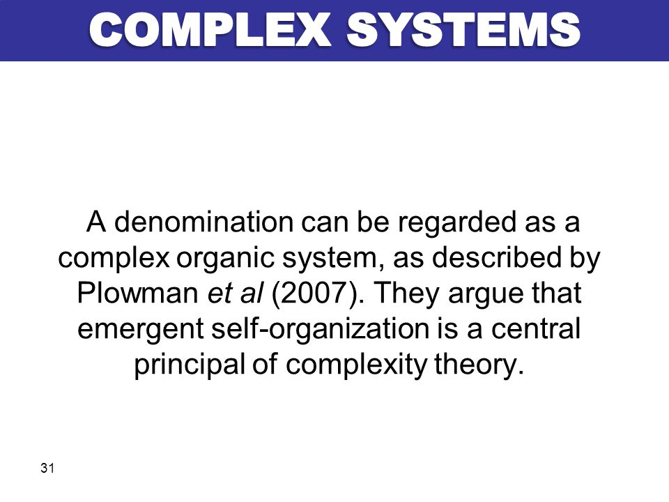 A denomination can be regarded as a complex organic system, as described by Plowman et al (2007). They argue that emergent self-organization is a cent