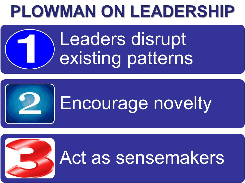 Leaders disrupt existing patterns Encourage novelty Act as sensemakers PLOWMAN ON LEADERSHIP