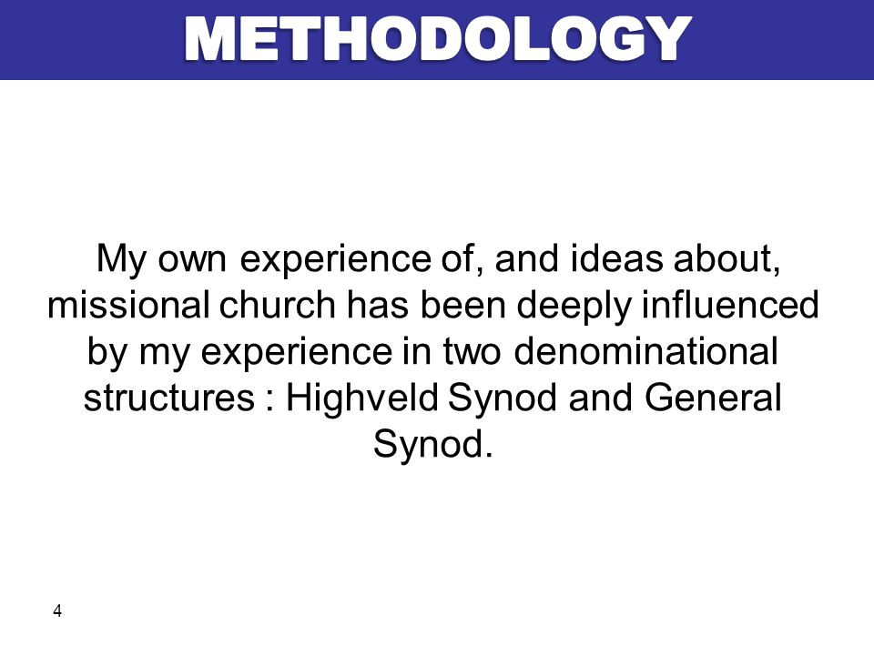 My own experience of, and ideas about, missional church has been deeply influenced by my experience in two denominational structures : Highveld Synod and General Synod.