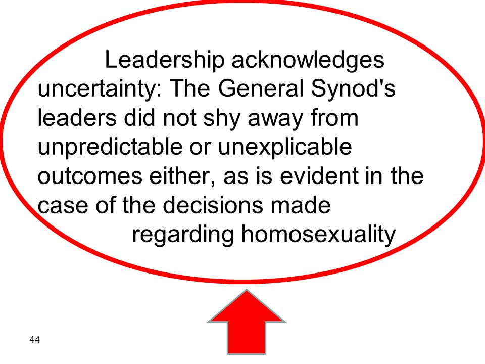Leadership acknowledges uncertainty: The General Synod's leaders did not shy away from unpredictable or unexplicable outcomes either, as is evident in