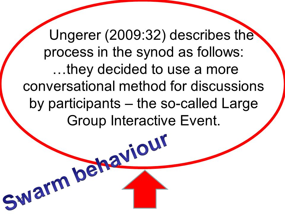 Ungerer (2009:32) describes the process in the synod as follows: …they decided to use a more conversational method for discussions by participants – t