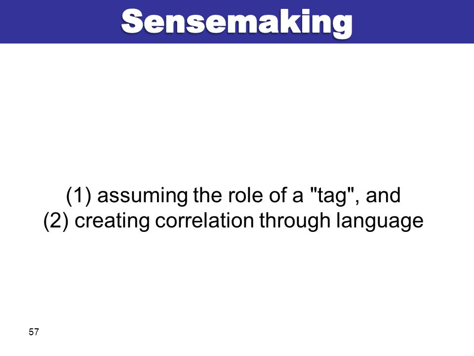 (1) assuming the role of a tag , and (2) creating correlation through language 57