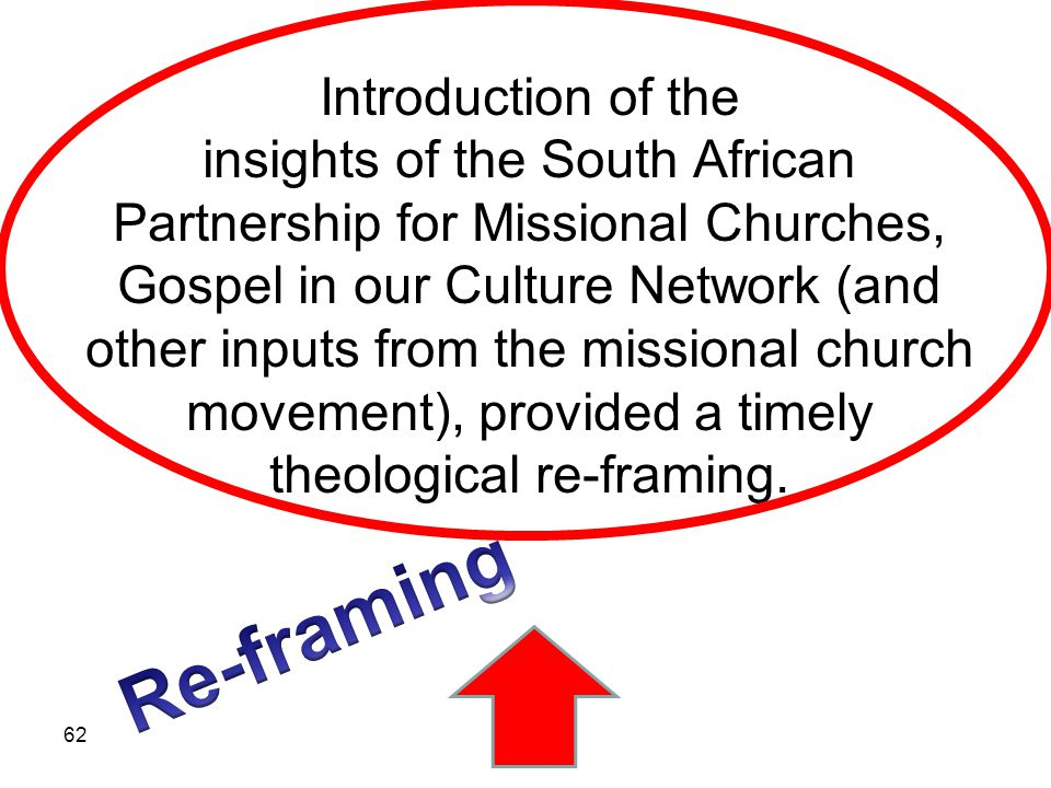 Introduction of the insights of the South African Partnership for Missional Churches, Gospel in our Culture Network (and other inputs from the missional church movement), provided a timely theological re-framing.