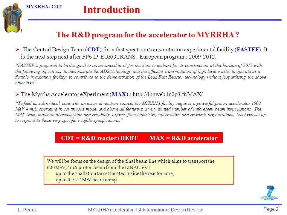 Page 13 L.Perrot,MYRRHA accelerator 1st International Design Review MYRRHA / CDT 2.