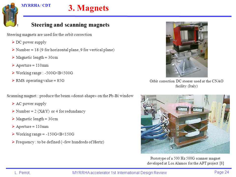 Page 24 L. Perrot,MYRRHA accelerator 1st International Design Review MYRRHA / CDT Steering and scanning magnets 3. Magnets Steering magnets are used f