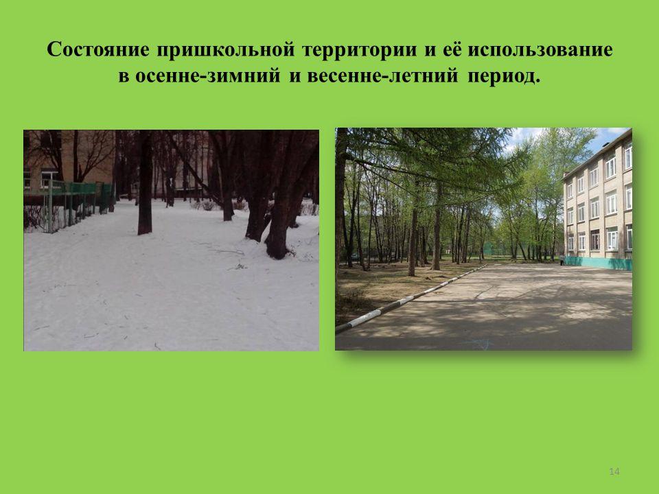 Состояние пришкольной территории и её использование в осенне-зимний и весенне-летний период. 14