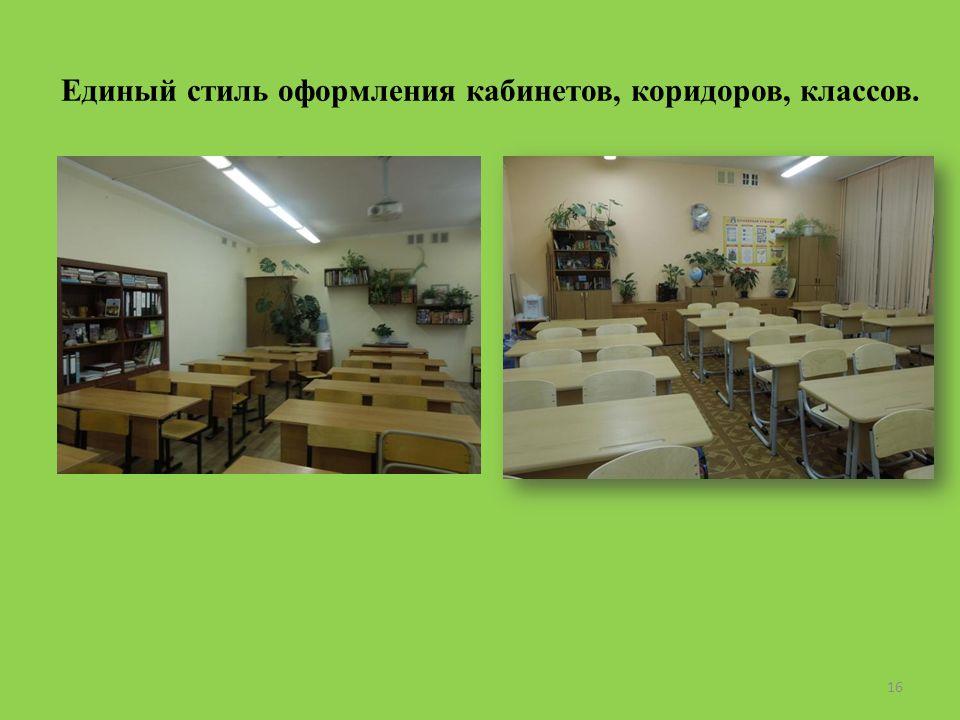Единый стиль оформления кабинетов, коридоров, классов. 16