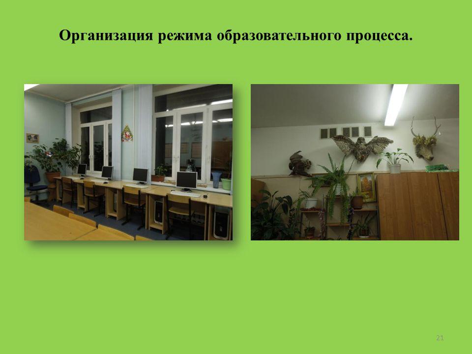 Организация режима образовательного процесса. 21