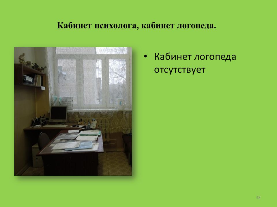 Кабинет психолога, кабинет логопеда. Кабинет логопеда отсутствует 38