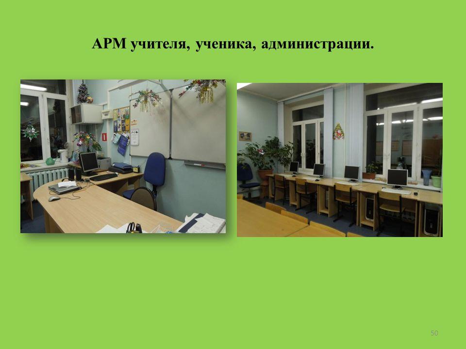 АРМ учителя, ученика, администрации. 50