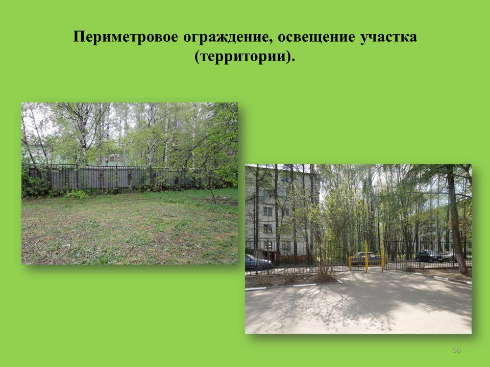 Периметровое ограждение, освещение участка (территории). 56