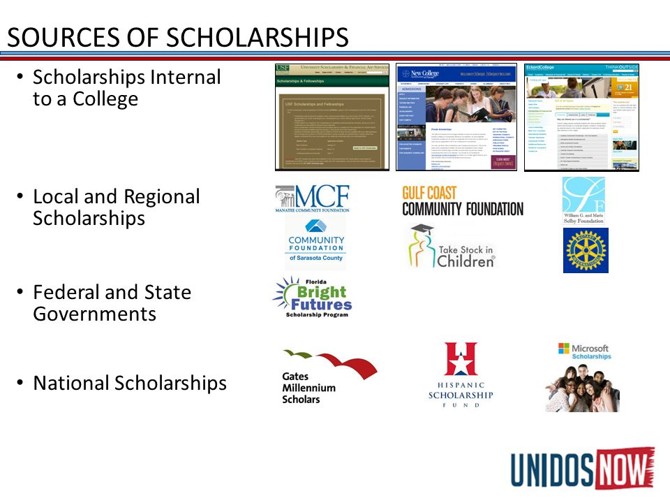 SOURCES OF SCHOLARSHIPS Scholarships Internal to a College Local and Regional Scholarships Federal and State Governments National Scholarships