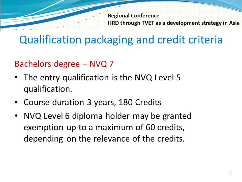 Qualification packaging and credit criteria Bachelors degree – NVQ 7 The entry qualification is the NVQ Level 5 qualification. Course duration 3 years